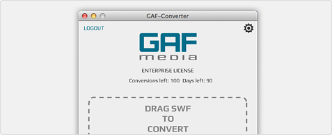gaf converter standalone application for 2d animations